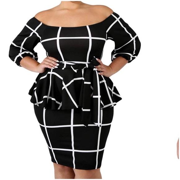 Off Shoulder Peplum Plus Size Dress